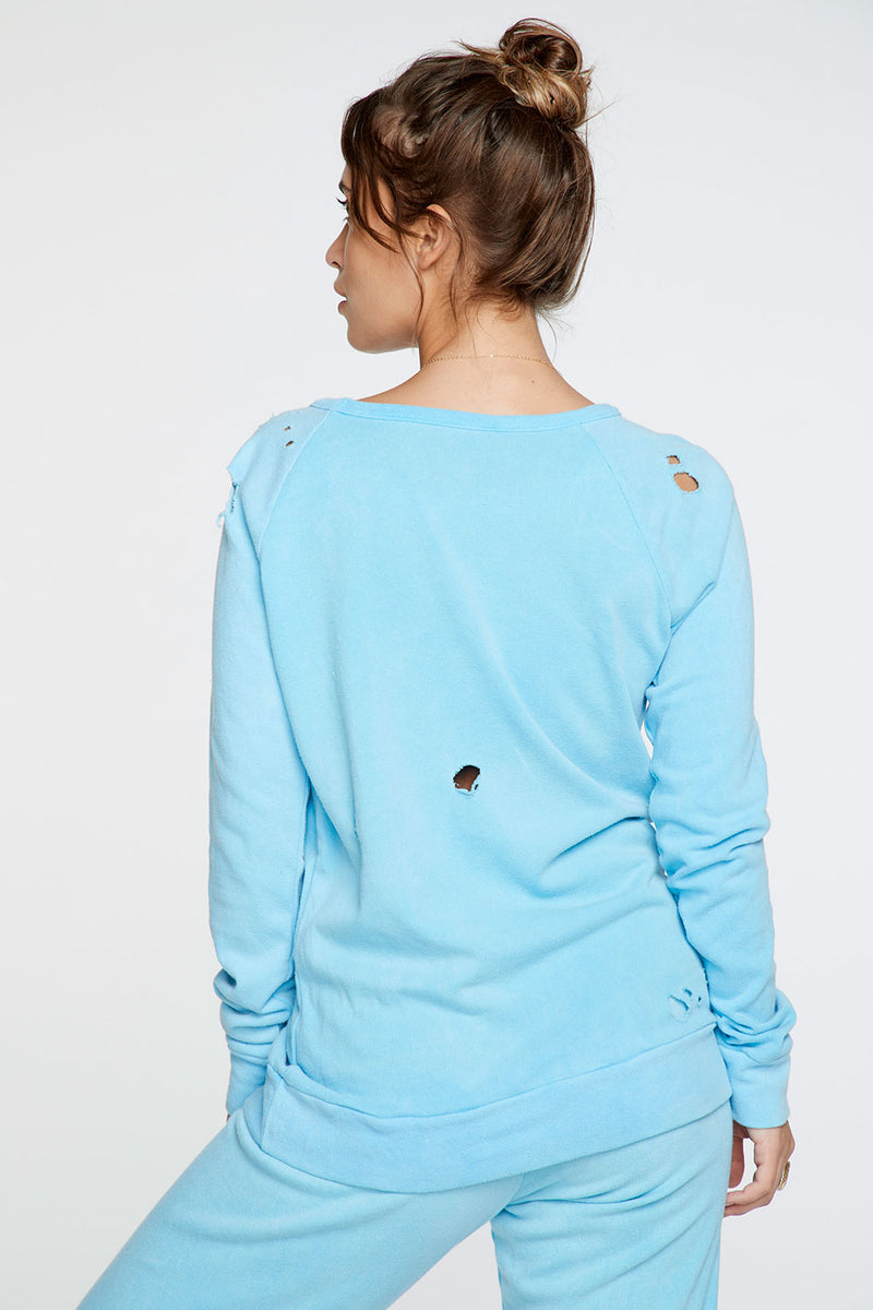 Cotton Fleece Long Sleeve Raglan Pullover in Neon Blue WOMENS chaserbrand4.myshopify.com