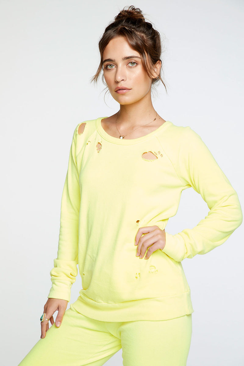 Cotton Fleece Long Sleeve Raglan Pullover in Neon Lime WOMENS chaserbrand4.myshopify.com