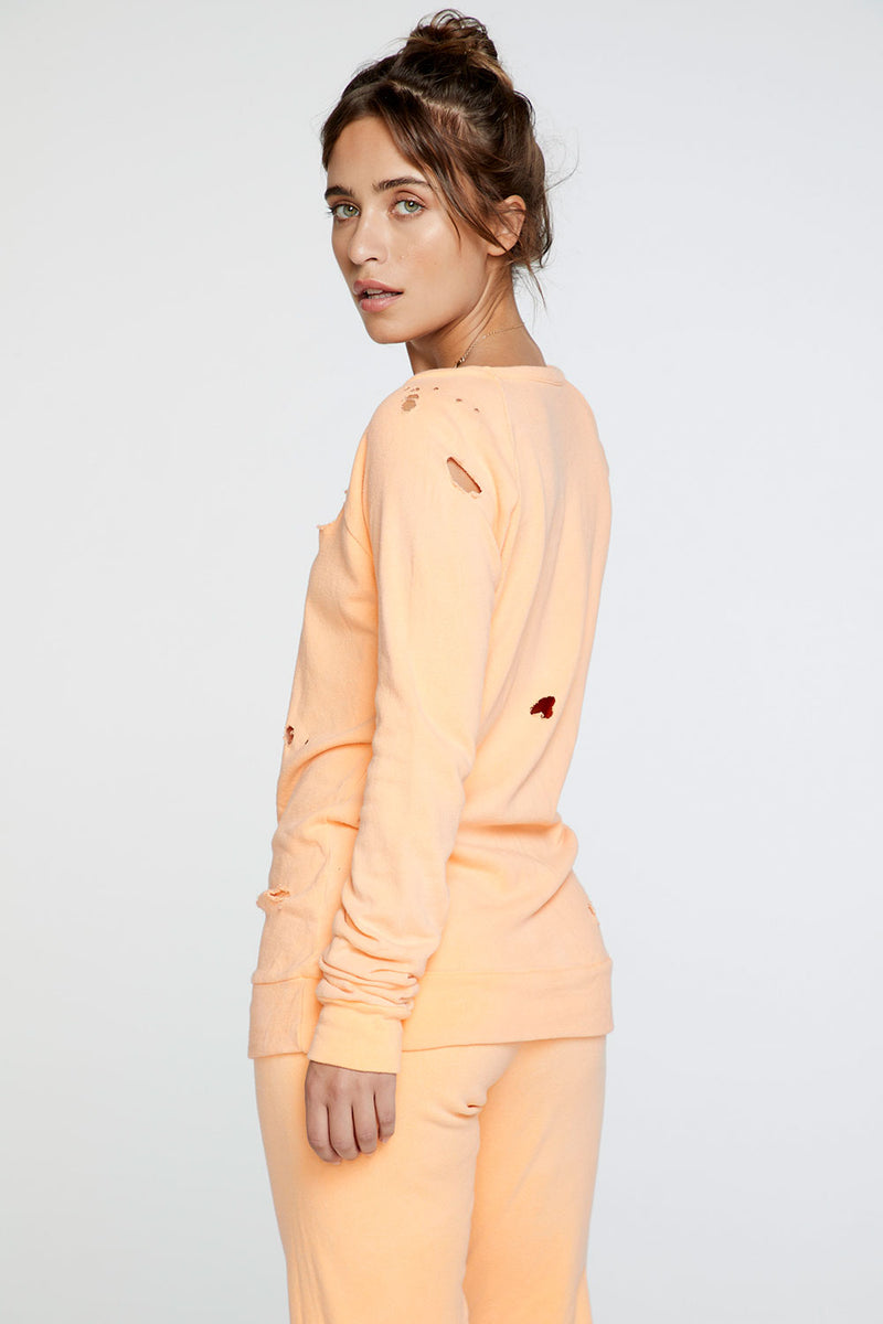 Cotton Fleece Long Sleeve Raglan Pullover in Neon Orange WOMENS chaserbrand4.myshopify.com