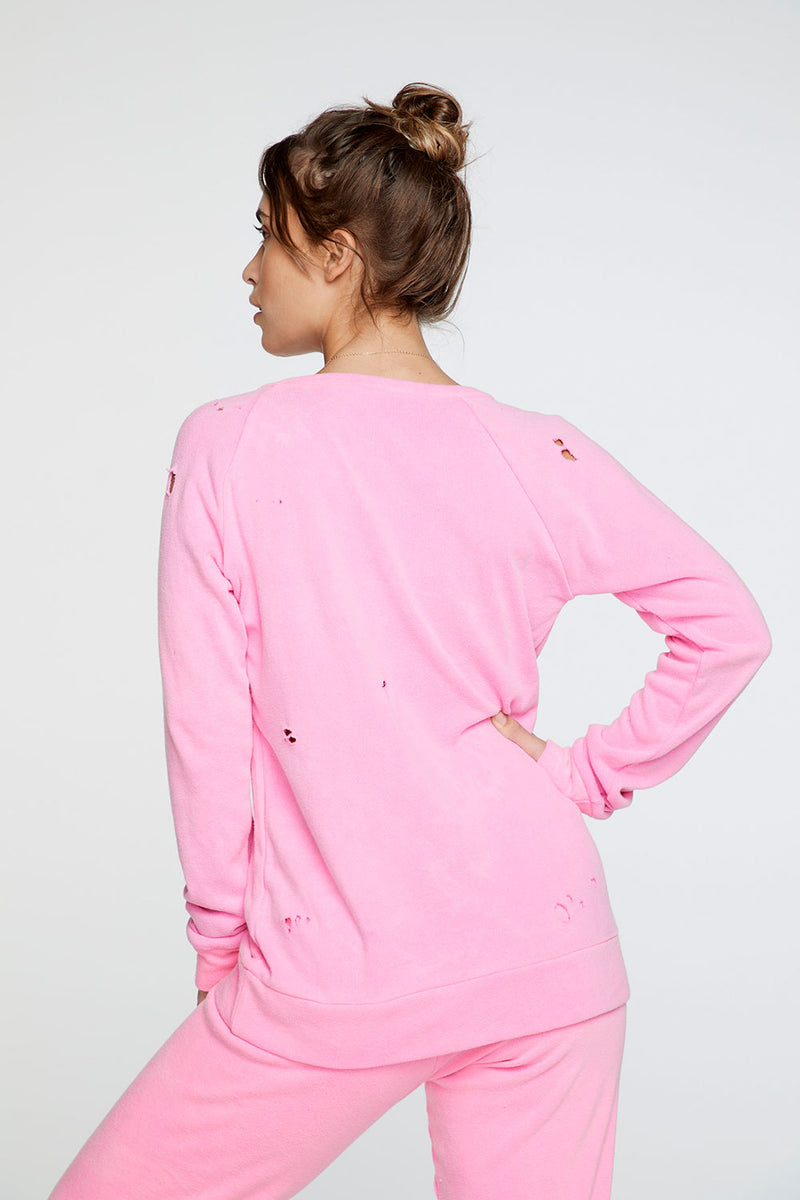 Cotton Fleece Long Sleeve Raglan Pullover in Neon Pink WOMENS chaserbrand4.myshopify.com