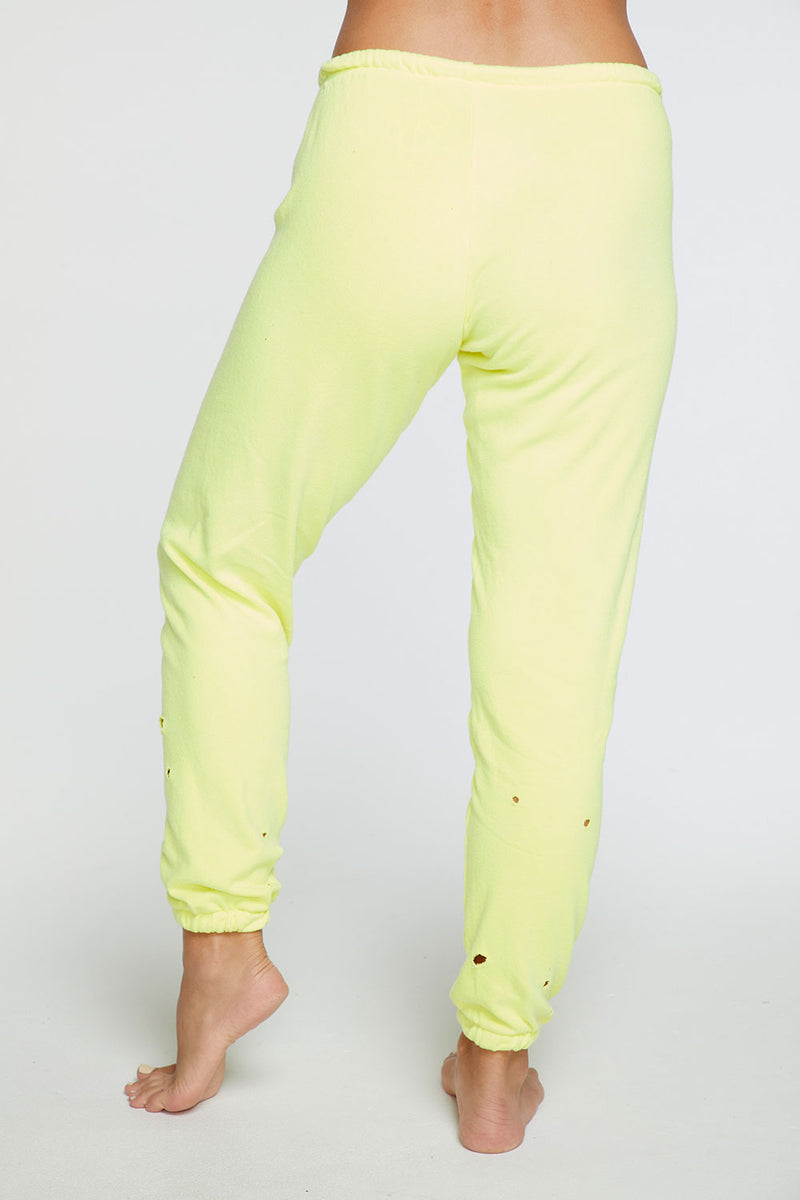 Cotton Fleece Relaxed Lounge Pant in Neon Lime WOMENS chaserbrand4.myshopify.com
