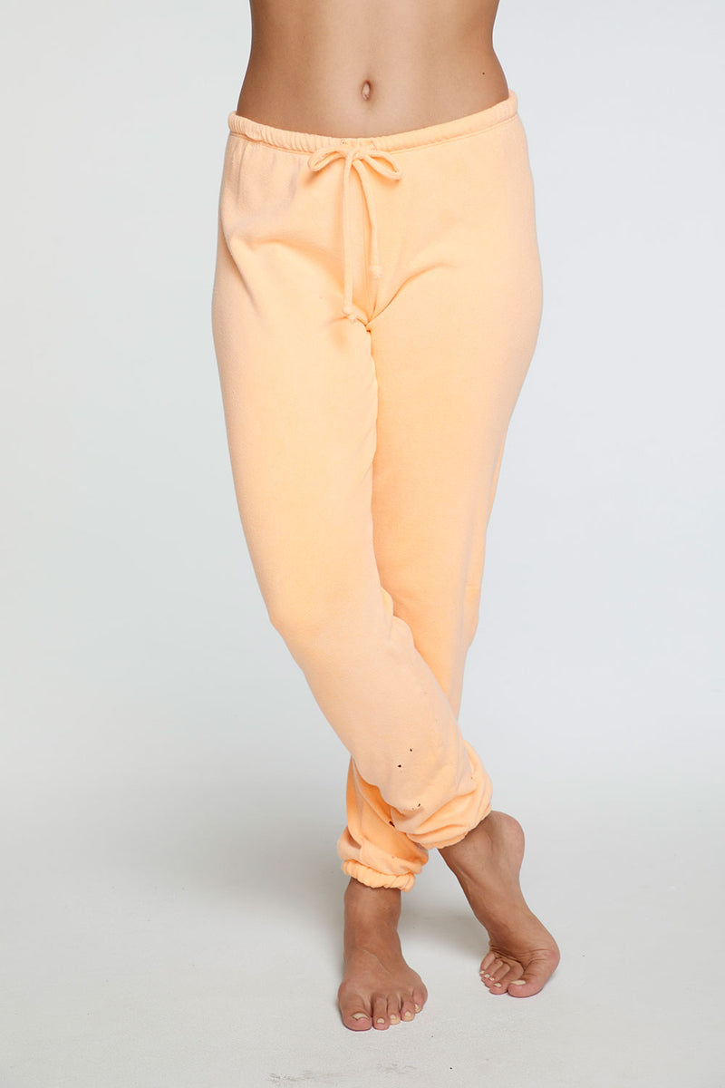 Cotton Fleece Relaxed Lounge Pant in Neon Orange WOMENS chaserbrand4.myshopify.com