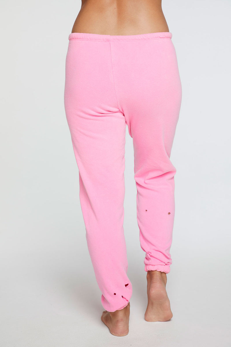 Cotton Fleece Relaxed Lounge Pant in Neon Pink WOMENS chaserbrand4.myshopify.com