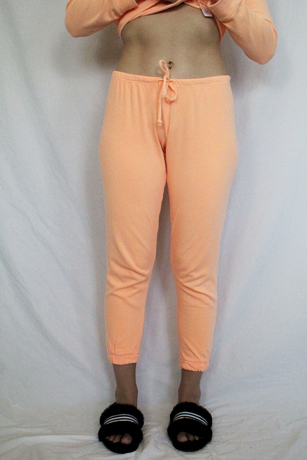 Cotton Fleece Relaxed Lounge Pant in Neon Orange