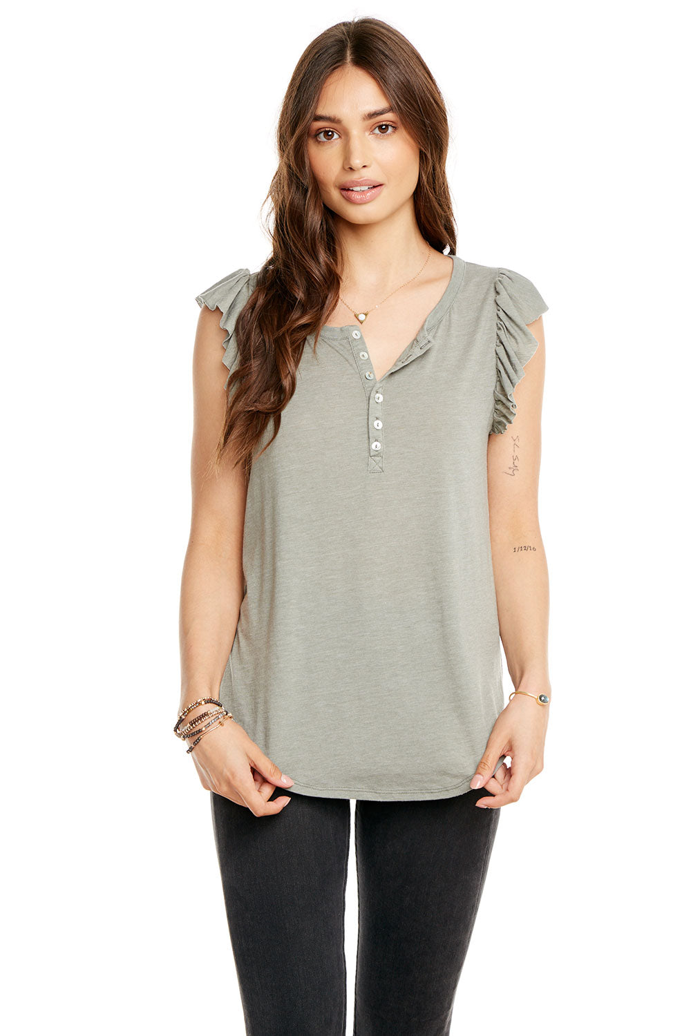 aa8d32aa83d VINTAGE JERSEY FLUTTER SLEEVE SHIRTTAIL HENLEY, WOMENS,  chaserbrand.com,chaser clothing,