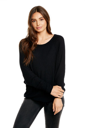 THERMAL L/S OPEN NECK TIE WAIST DOLMAN PULLOVER