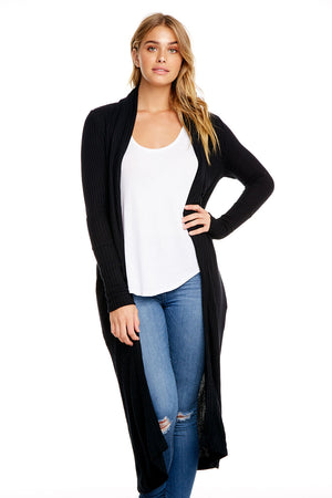 THERMAL L/S SHAWL COLLAR OPEN FRONT DUSTER