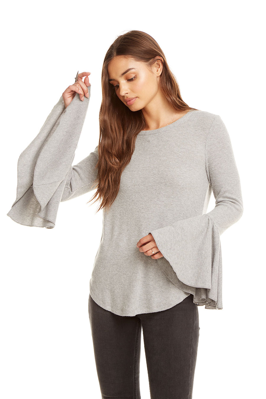 LOVE RIB PEPLUM SLEEVE SHIRTTAIL TEE