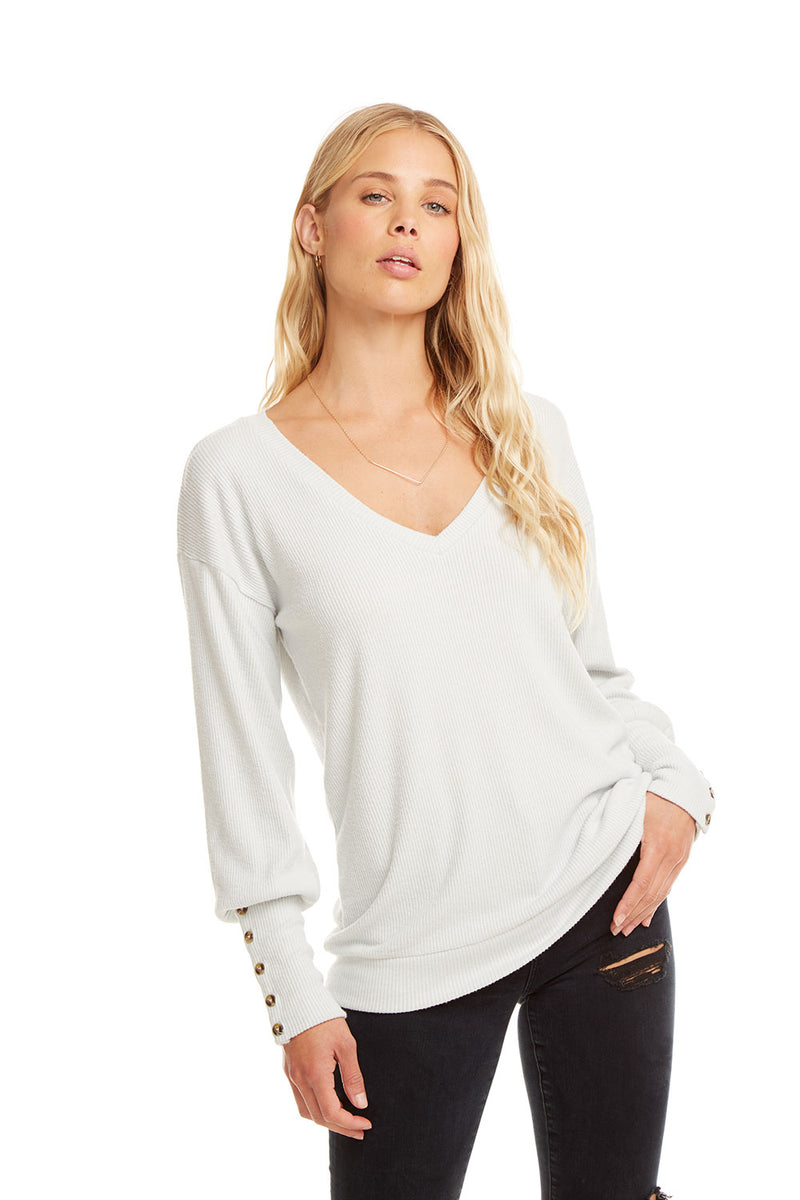 LOVE RIB L/S V NECK CUFF PULLOVER, WOMENS, chaserbrand.com,chaser clothing,chaser apparel,chaser los angeles