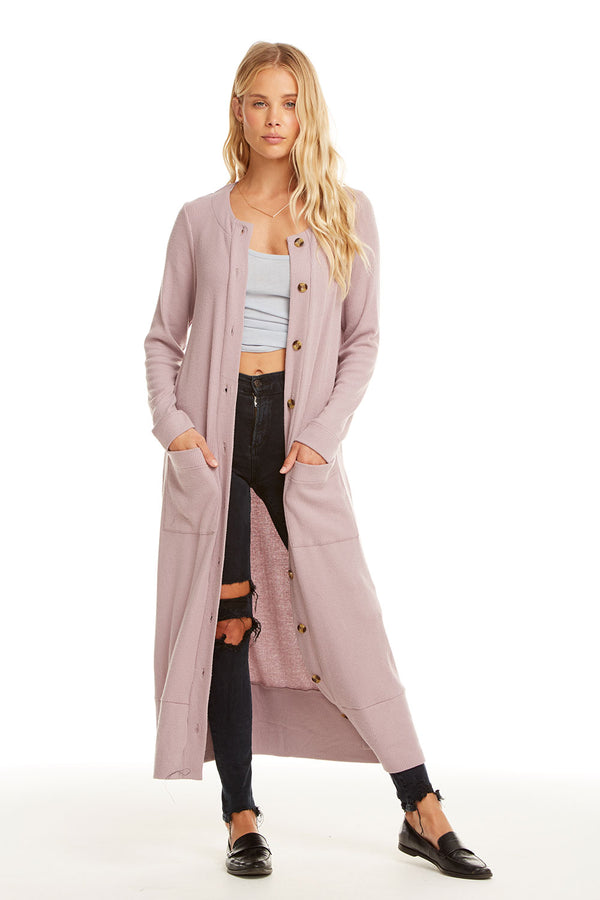 LOVE RIB L/S BUTTON FRONT DUSTER W/ POCKETS