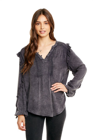 HEIRLOOM WOVENS RUFFLE SLEEVE PINTUCK SHIRT