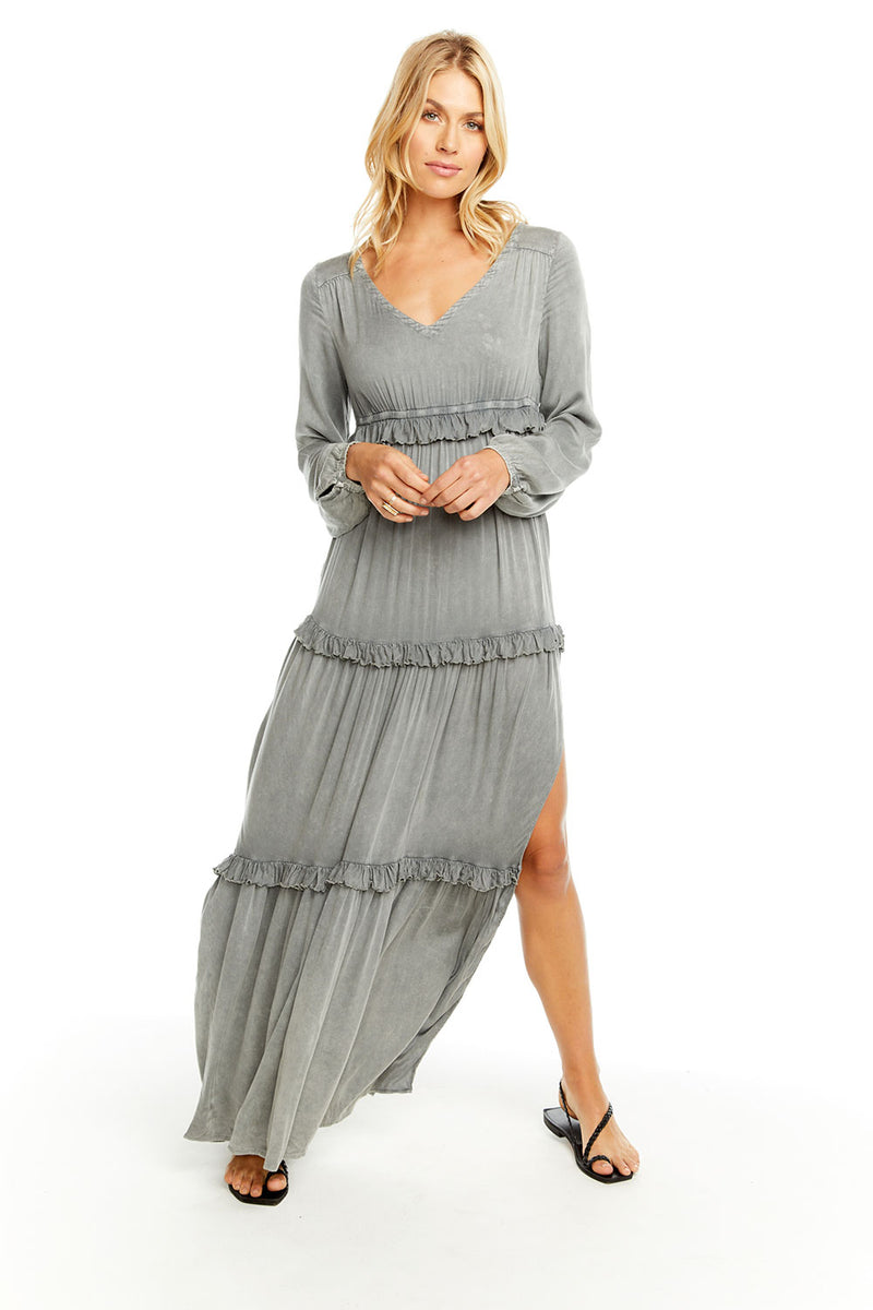 HEIRLOOM WOVENS L/S V NECK RUFFLE TIER MAXI DRESS W/ SIDE SLIT, WOMENS, chaserbrand.com,chaser clothing,chaser apparel,chaser los angeles