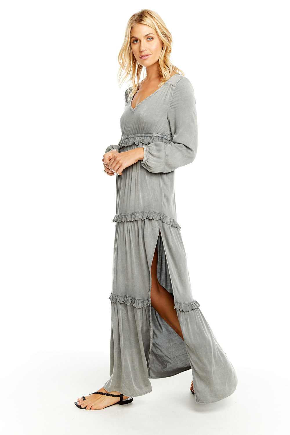 fbbdedcc09e14 HEIRLOOM WOVENS L/S V NECK RUFFLE TIER MAXI DRESS W/ SIDE SLIT