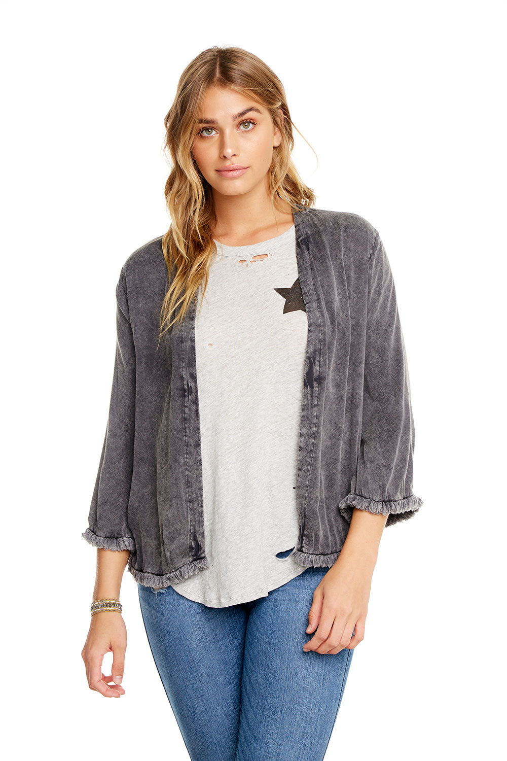 HEIRLOOM WOVENS SHRUNKEN KIMONO W/ FRAYED EDGE WOMENS - chaserbrand