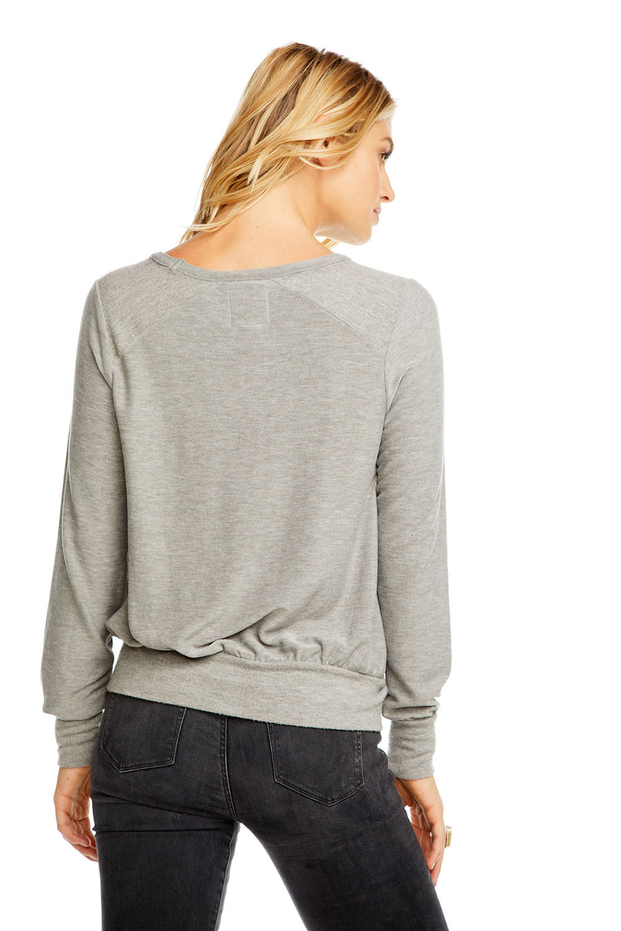 COZY KNIT L/S CROPPED REVERSE PANEL PULLOVER