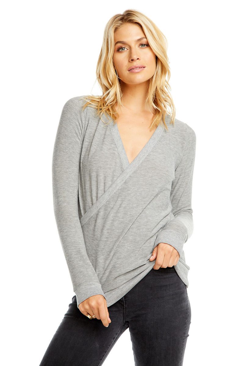 COZY KNIT L/S SURPLICE PULLOVER, WOMENS, chaserbrand.com,chaser clothing,chaser apparel,chaser los angeles