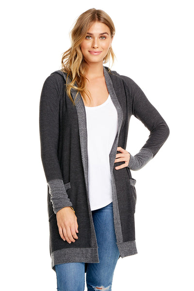 COZY KNIT L/S OPEN FRONT HOODED CARDIGAN W/ POCKETS, WOMENS, chaserbrand.com,chaser clothing,chaser apparel,chaser los angeles