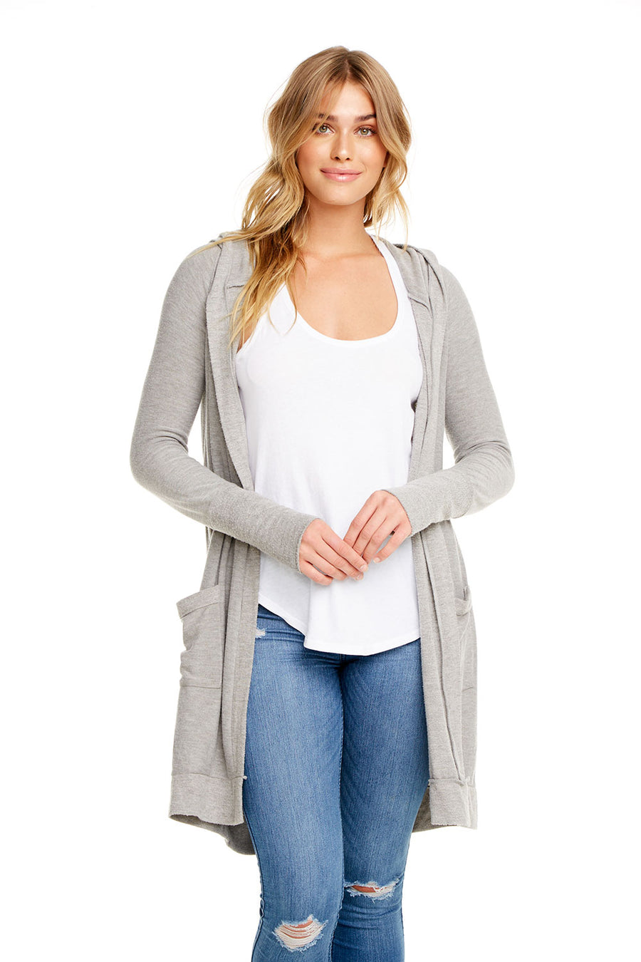 COZY KNIT L/S OPEN FRONT HOODED CARDIGAN W/ POCKETS