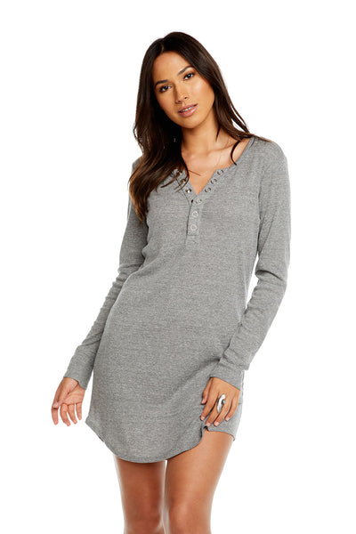 TRIBLEND L/S RIB HENLEY SHIRTTAIL DRESS, WOMENS, chaserbrand.com,chaser clothing,chaser apparel,chaser los angeles