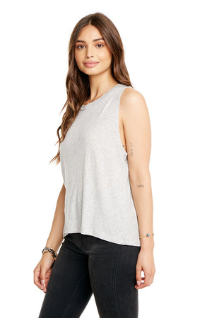 GAUZY COTTON CROPPED HI-LO MUSCLE TANK