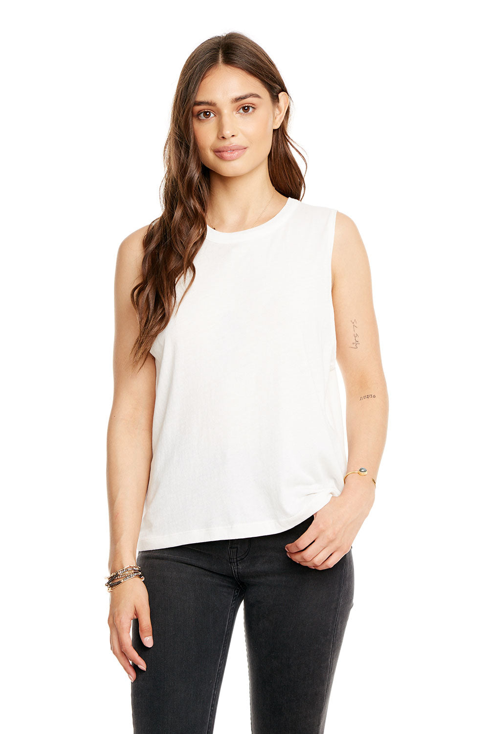 GAUZY COTTON CROPPED HI-LO MUSCLE TANK, WOMENS, chaserbrand.com,chaser clothing,chaser apparel,chaser los angeles