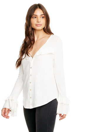 GAUZY COTTON L/S RUFFLE COLLARLESS BUTTON DOWN SHIRT