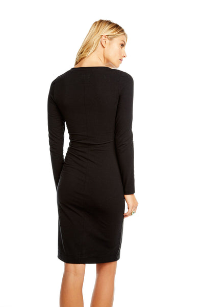 QUADRABLEND L/S V NECK BODYCON MIDI DRESS, WOMENS, chaserbrand.com,chaser clothing,chaser apparel,chaser los angeles
