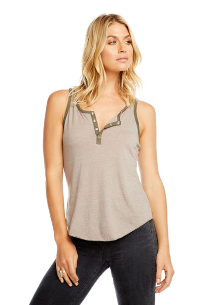 BLOCKED JERSEY SHIRTTAIL HENLEY RACERBACK TANK, WOMENS, chaserbrand.com,chaser clothing,chaser apparel,chaser los angeles