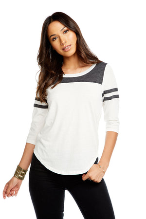 BLOCKED JERSEY 3/4 SLEEVE SHIRTTAIL FOOTBALL TEE W/ STRAPPING