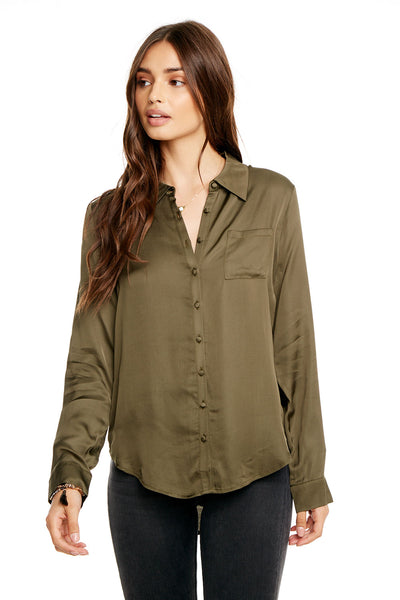 SILKY BASICS L/S HI-LO CLASSIC BUTTON DOWN SHIRT W/ POCKET, WOMENS, chaserbrand.com,chaser clothing,chaser apparel,chaser los angeles