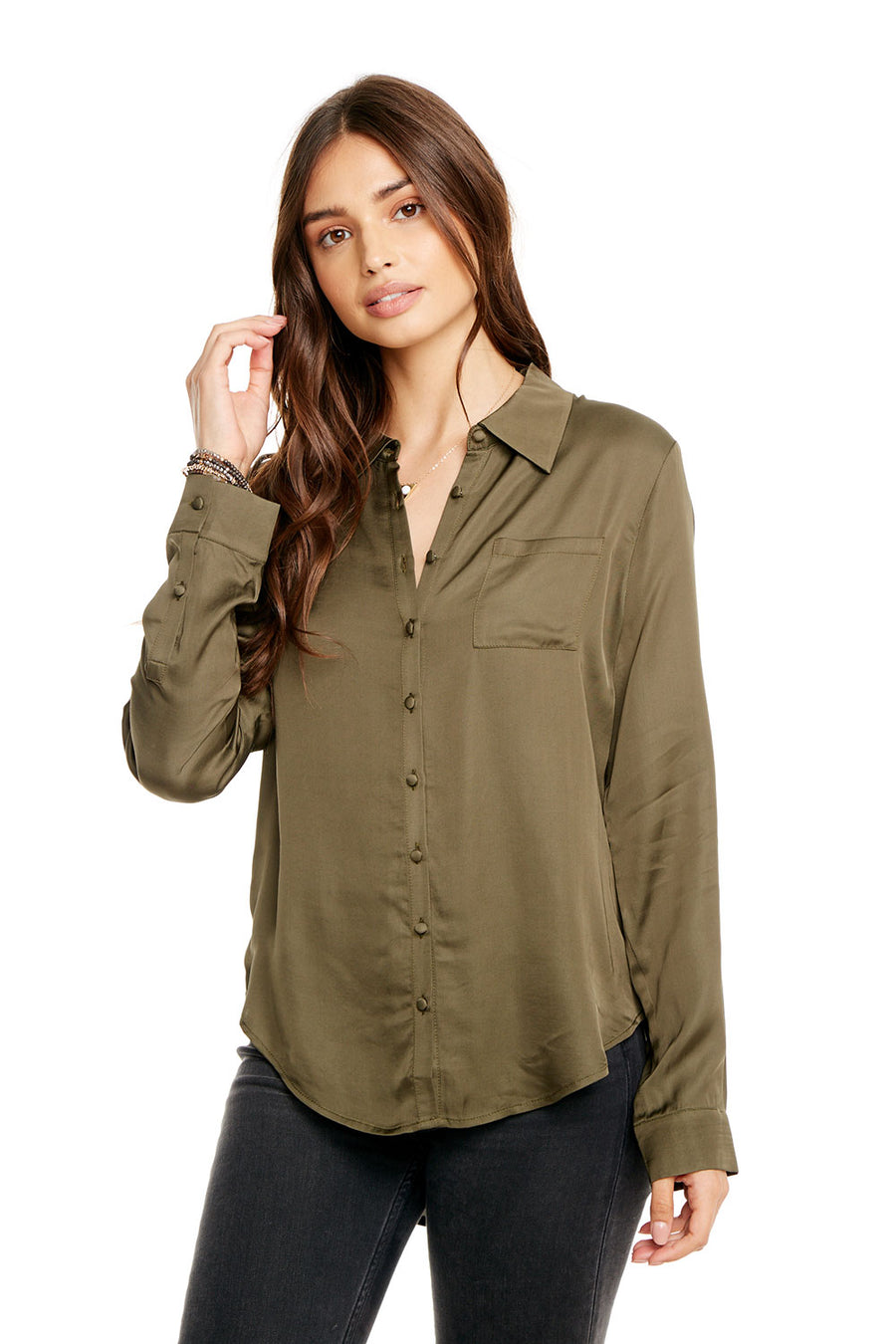 SILKY BASICS L/S HI-LO CLASSIC BUTTON DOWN SHIRT W/ POCKET