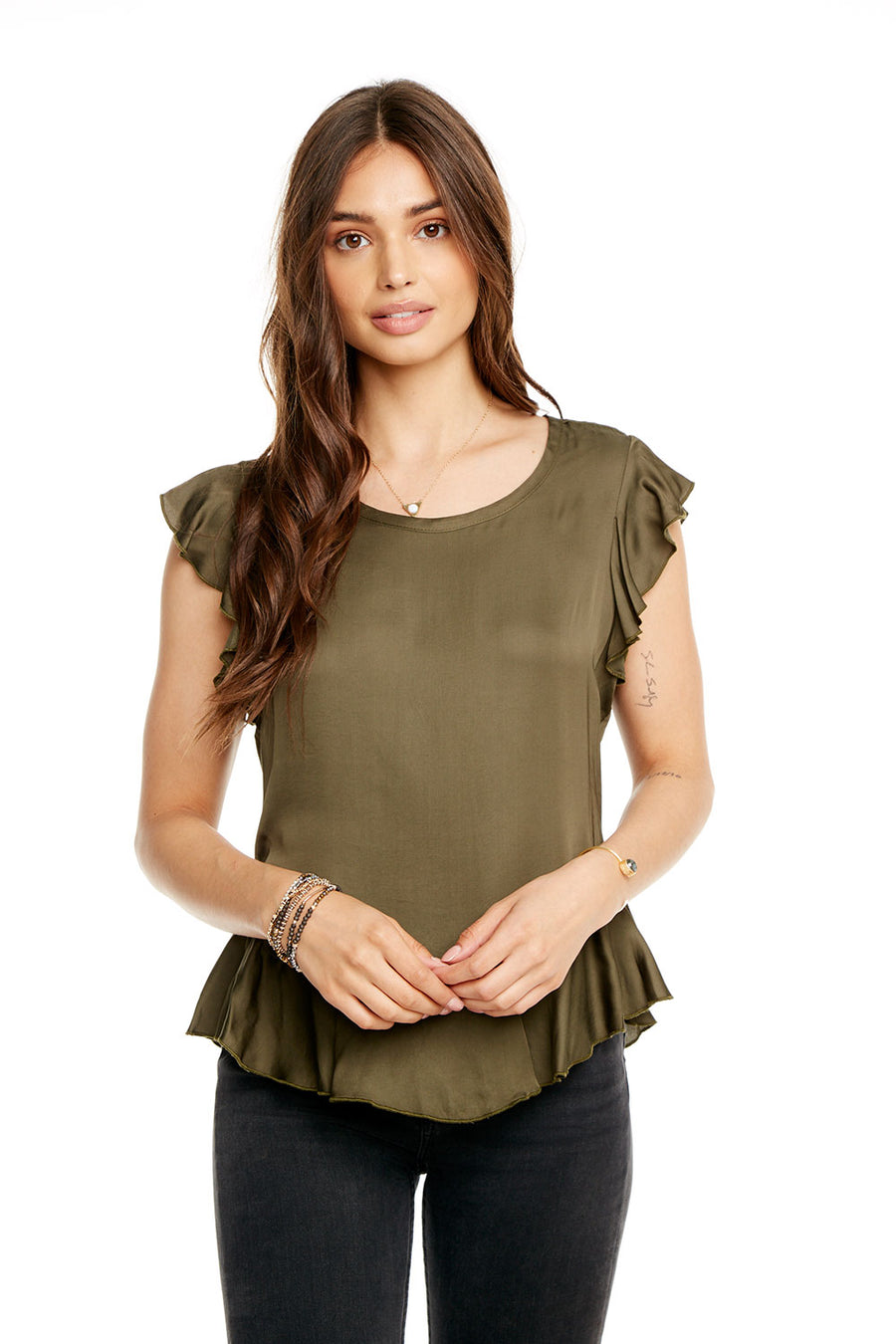 SILKY BASICS FLUTTER SLEEVE PEPLUM TEE, WOMENS, chaserbrand.com,chaser clothing,chaser apparel,chaser los angeles