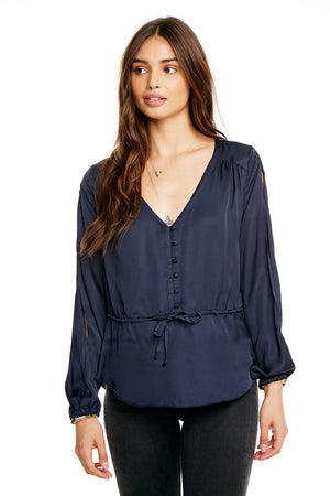 SILKY BASICS SLIT BLOUSON SLEEVE TIE FRONT PEPLUM BUTTON DOWN