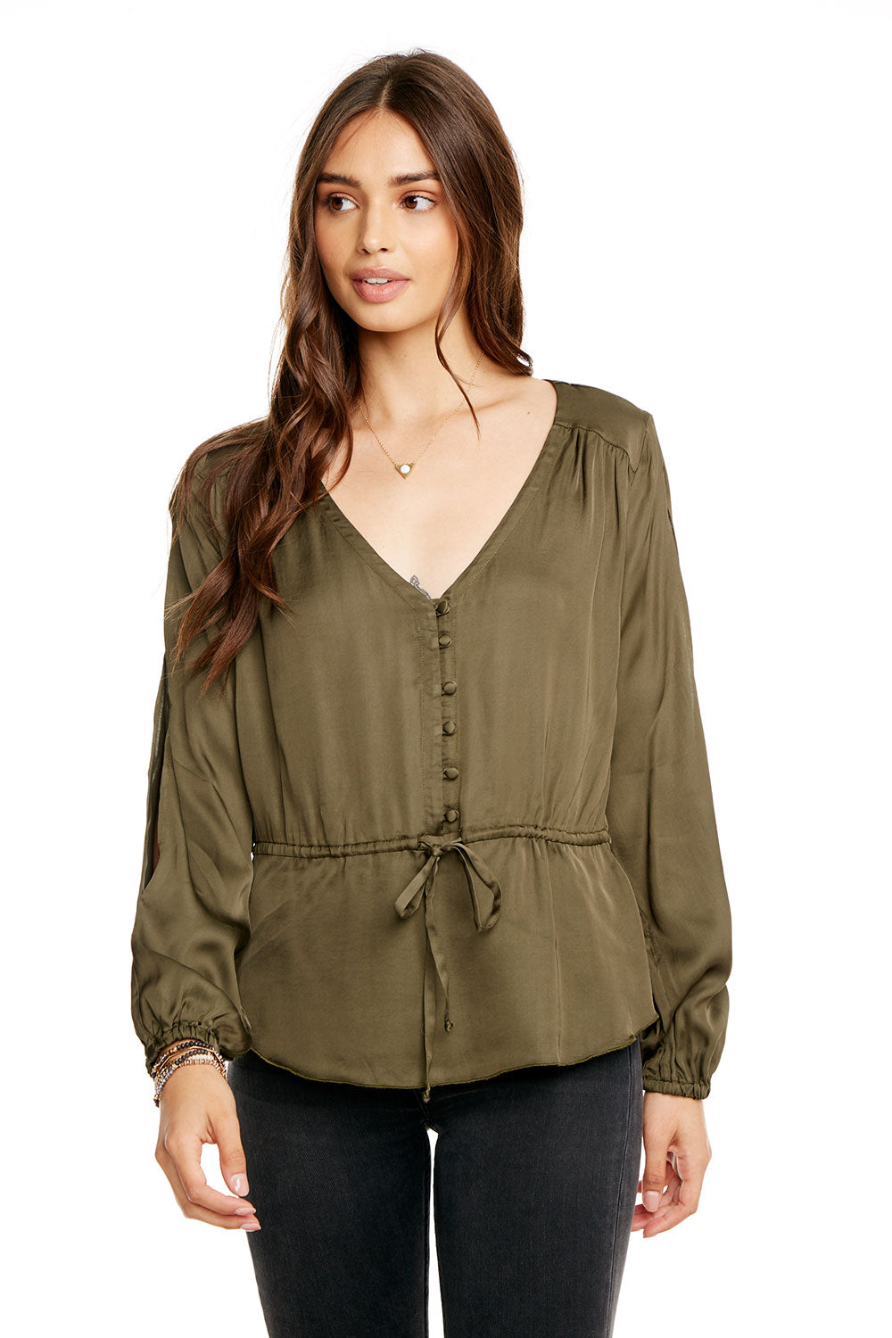 SILKY BASICS SLIT BLOUSON SLEEVE TIE FRONT PEPLUM BUTTON DOWN WOMENS chaserbrand4.myshopify.com