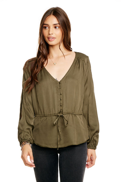 SILKY BASICS SLIT BLOUSON SLEEVE TIE FRONT PEPLUM BUTTON DOWN, WOMENS, chaserbrand.com,chaser clothing,chaser apparel,chaser los angeles