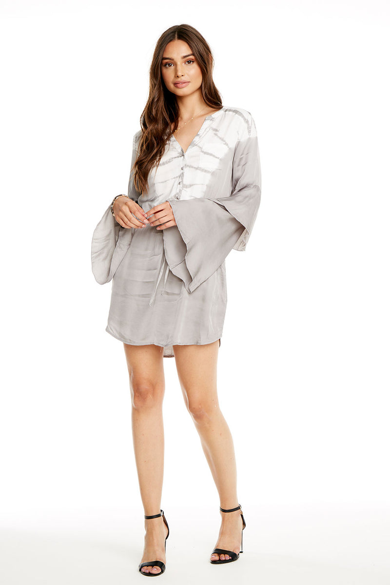 SILKY BASICS TIERED BELL SLEEVE BUTTON DOWN HI-LO SHIRTTAIL DRESS, WOMENS, chaserbrand.com,chaser clothing,chaser apparel,chaser los angeles