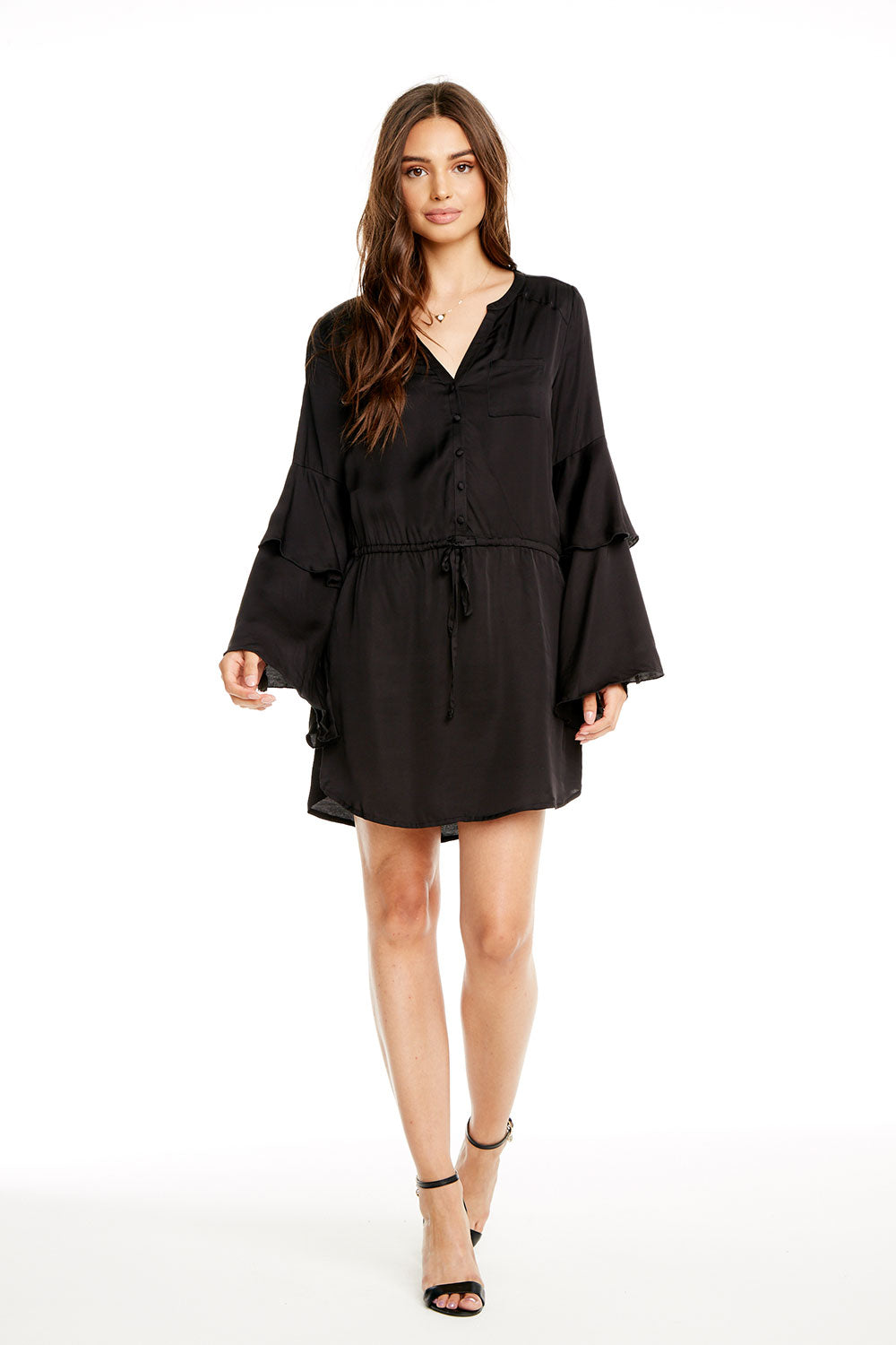 SILKY BASICS TIERED BELL SLEEVE BUTTON DOWN HI-LO SHIRTTAIL DRESS WOMENS chaserbrand4.myshopify.com