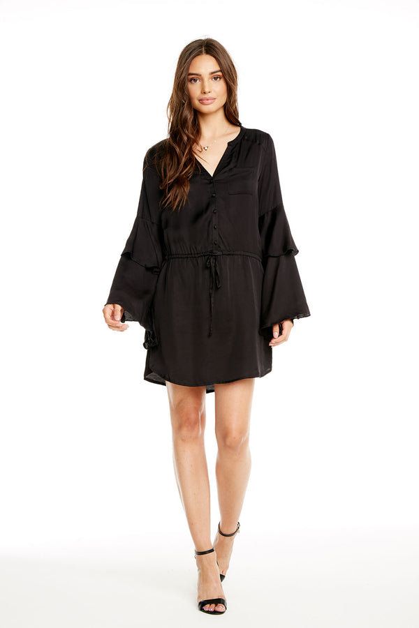 SILKY BASICS TIERED BELL SLEEVE BUTTON DOWN HI-LO SHIRTTAIL DRESS