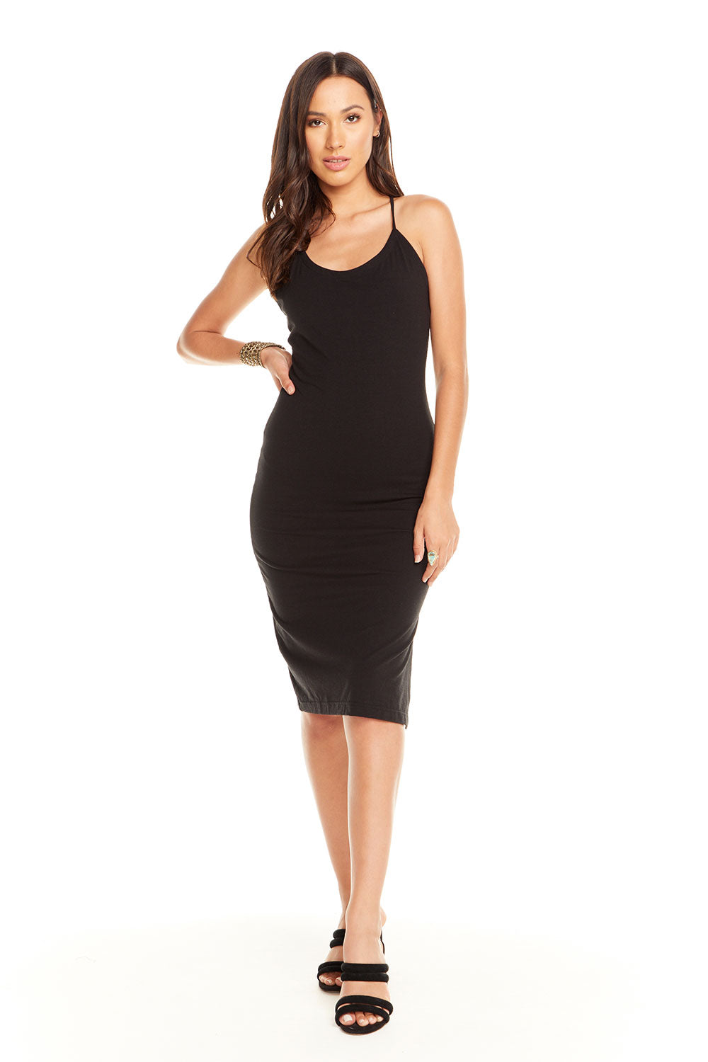 Quadrablend Strappy Back Bodycon Cami Dress W/ Slit, WOMENS, chaserbrand.com,chaser clothing,chaser apparel,chaser los angeles