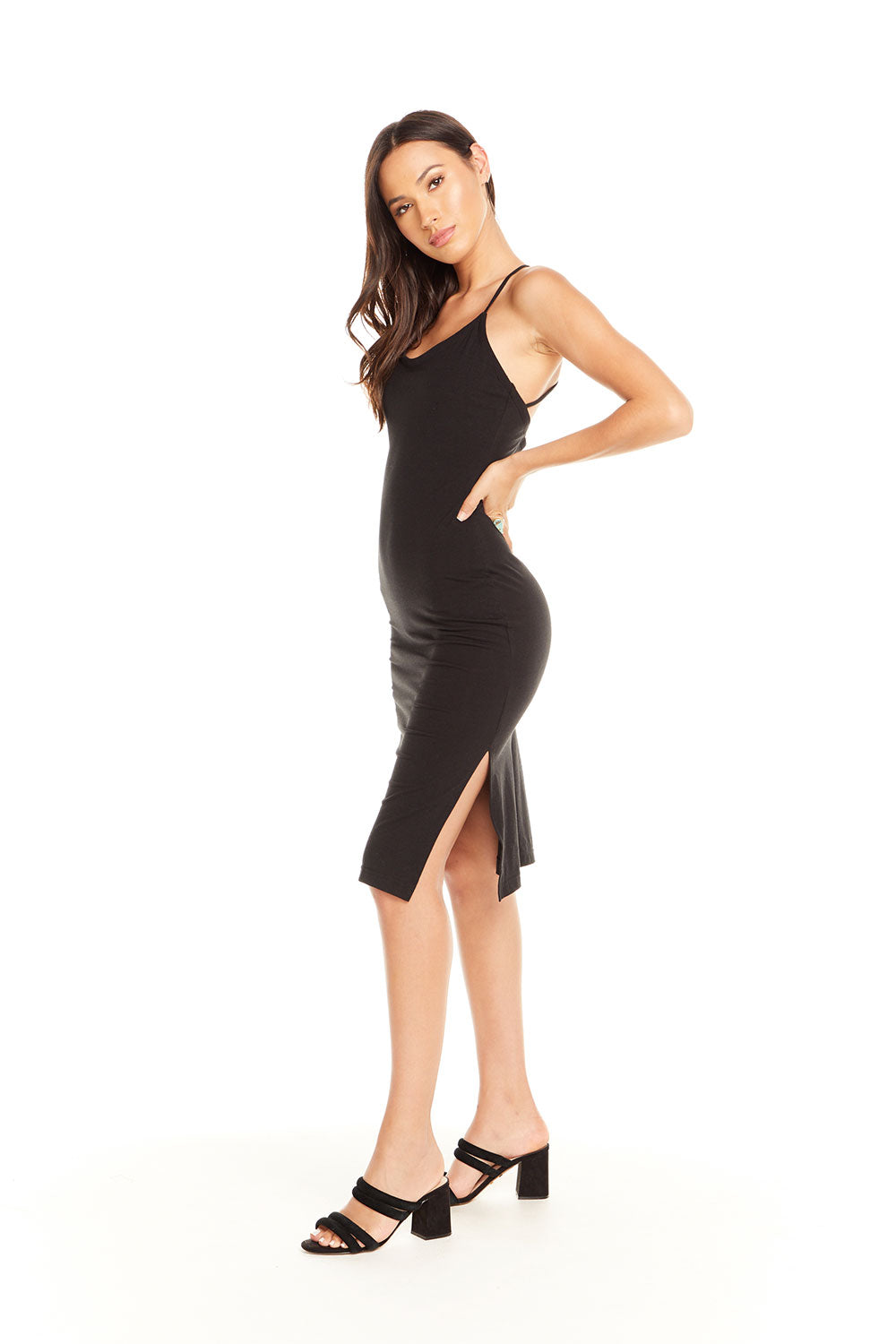 95b660e5cff Quadrablend Strappy Back Bodycon Cami Dress W  Slit - chaserbrand.com