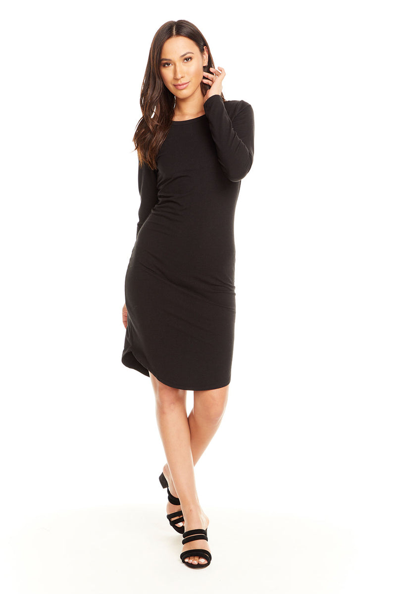 Quadrablend L/S Crew Neck Bodycon Shirttail Dress, WOMENS, chaserbrand.com,chaser clothing,chaser apparel,chaser los angeles