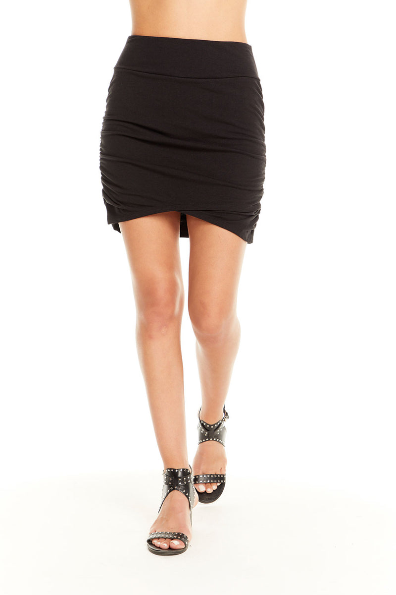 Quadrablend Ruched Asymmetrical Mini Skirt, WOMENS, chaserbrand.com,chaser clothing,chaser apparel,chaser los angeles