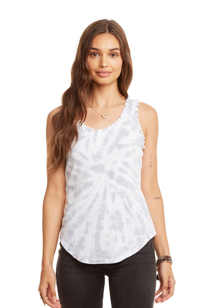 Ruffle Racerback Shirttail Tank, WOMENS, chaserbrand.com,chaser clothing,chaser apparel,chaser los angeles