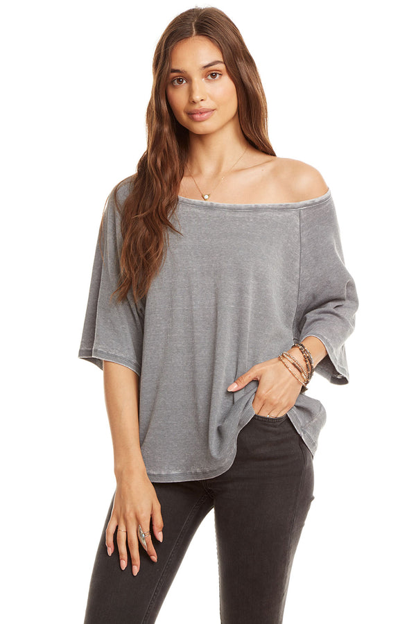 3/4 Sleeve Off Shoulder Raglan Tee, WOMENS, chaserbrand.com,chaser clothing,chaser apparel,chaser los angeles