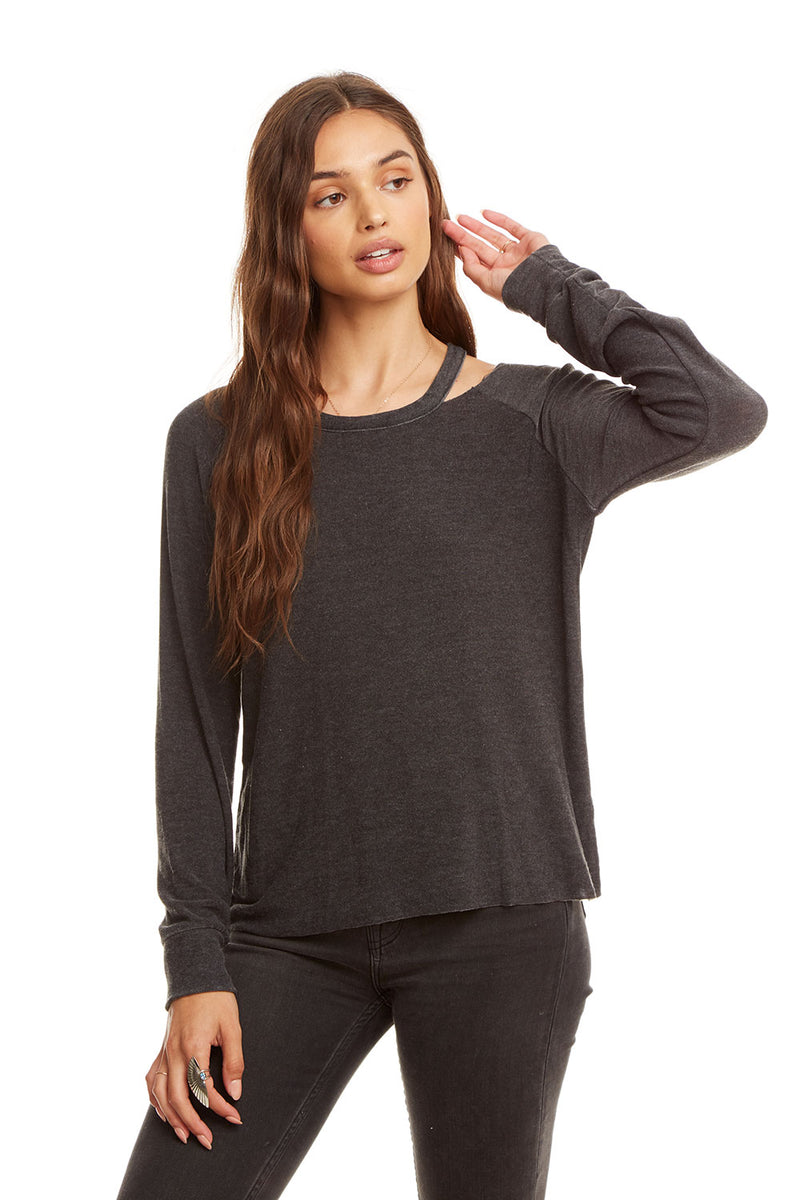 Cozy Knit L/S Raglan Vented Neck Pullover, WOMENS, chaserbrand.com,chaser clothing,chaser apparel,chaser los angeles