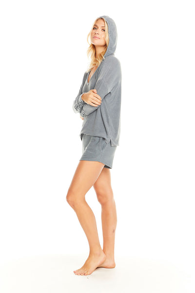Cozy Knit Drop Shoulder Lace-Up Sleeve Pullover Hoodie, WOMENS, chaserbrand.com,chaser clothing,chaser apparel,chaser los angeles