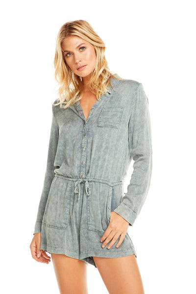 Heirloom Wovens L/S Snap Front Collared Romper, WOMENS, chaserbrand.com,chaser clothing,chaser apparel,chaser los angeles