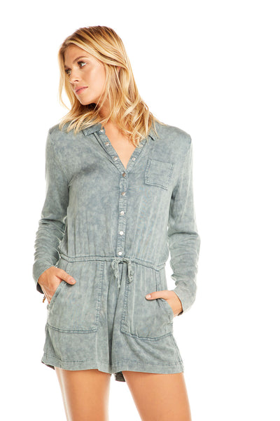 Heirloom Wovens L/S Snap Front Collared Romper WOMENS chaserbrand4.myshopify.com