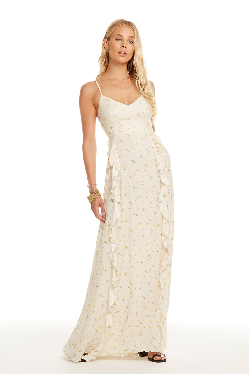 Heirloom Wovens Lace-Up Back Ruffle Maxi Dress, WOMENS, chaserbrand.com,chaser clothing,chaser apparel,chaser los angeles