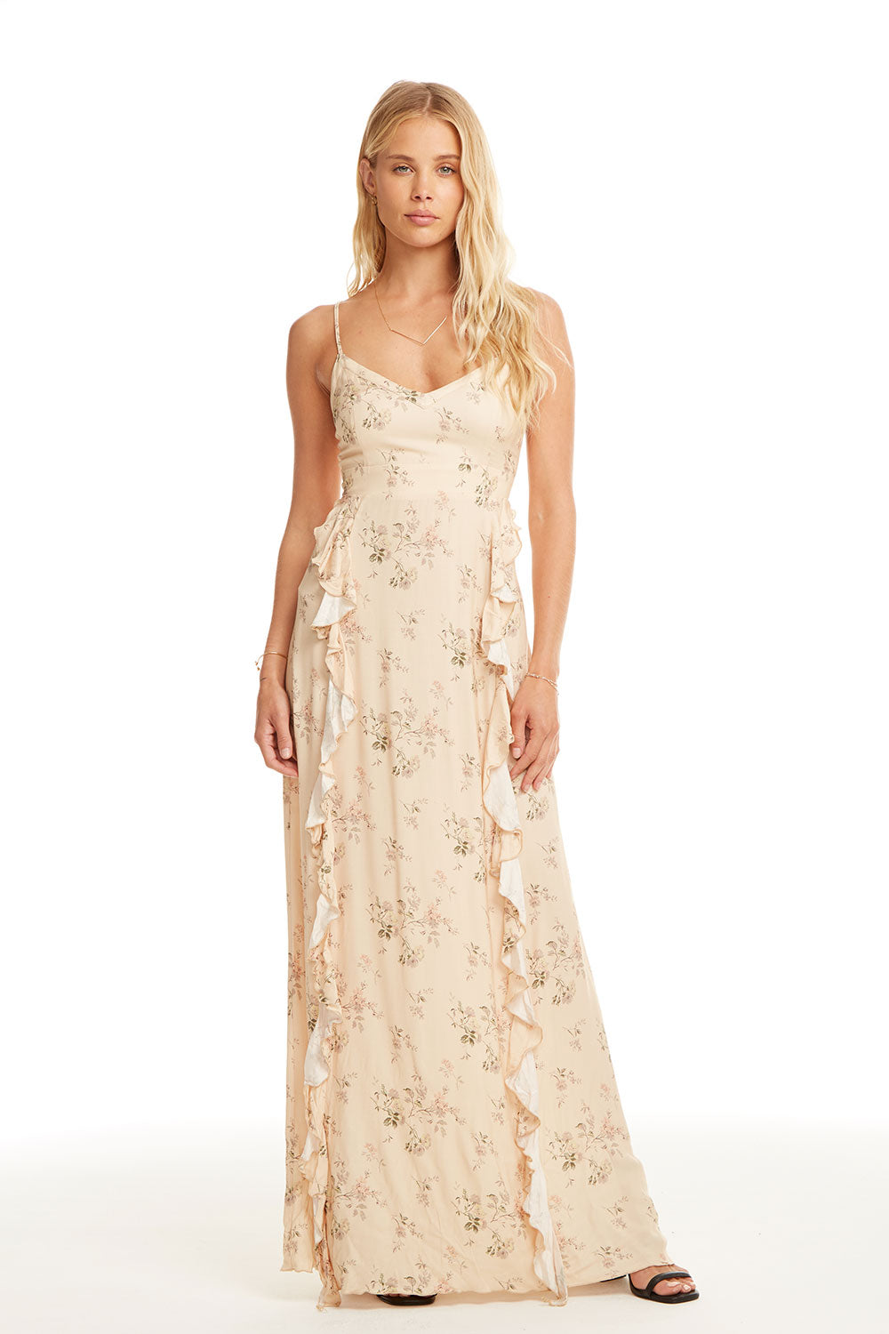 Heirloom Wovens Lace-Up Back Ruffle Maxi Dress WOMENS chaserbrand4.myshopify.com